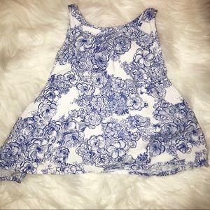 White/blue designed crop top